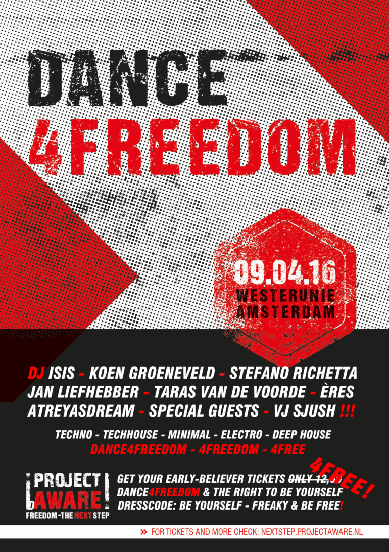 Zaterdag 9 april Dance4Freedom – 4FREE